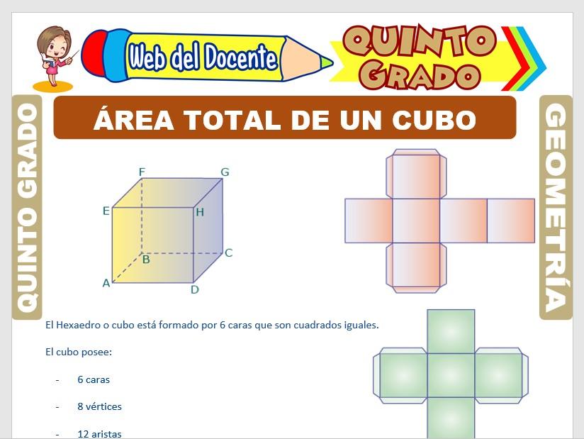 Ficha de Área Total de un Cubo para Quinto Grado de Primaria