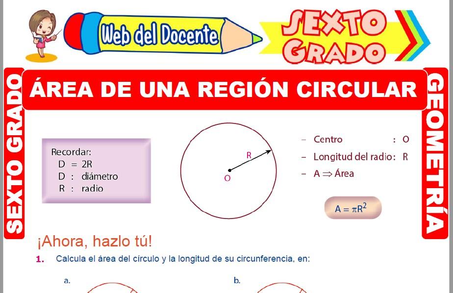 Muestra de la Ficha de Área de una Región Circular para Sexto Grado de Primaria