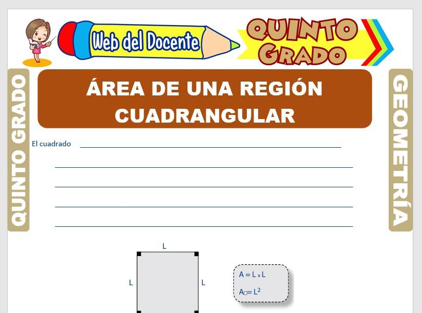 Ficha de Área de una Región Cuadrangular para Quinto Grado de Primaria