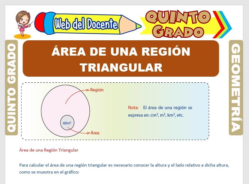 Ficha de Área de una Región Triangular para Quinto Grado de Primaria