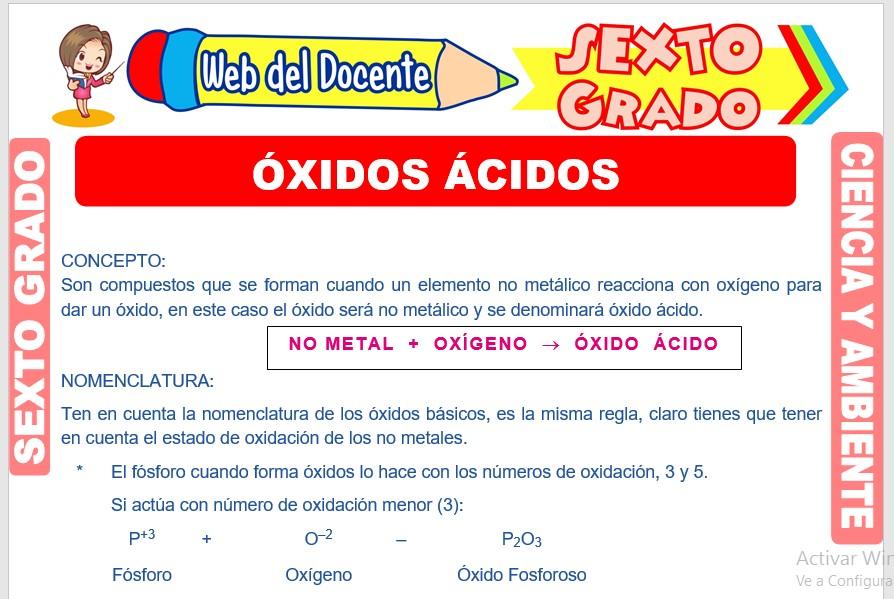 Ficha de Óxidos Ácidos para Sexto Grado de Primaria