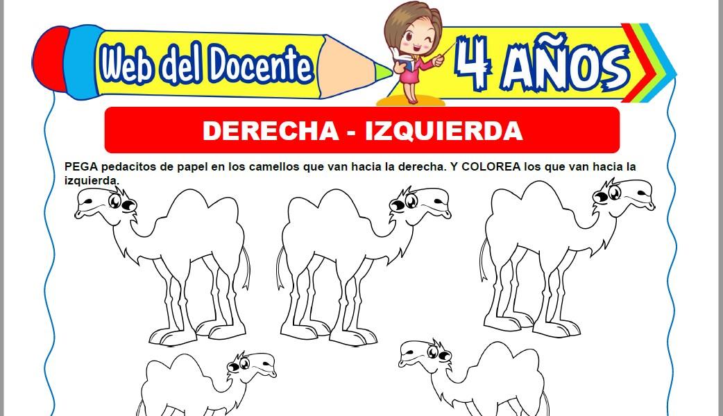 Muestra de la Ficha de A la Derecha y a la Izquierda para Niños de 4 Años