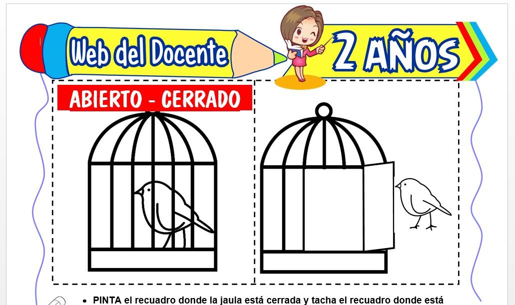 Ficha de Abierto y Cerrado para Niños de 2 Años