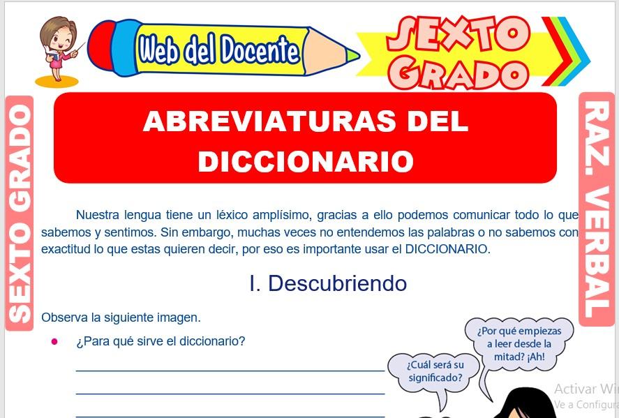Ficha de Abreviaturas del Diccionario para Sexto Grado de Primaria