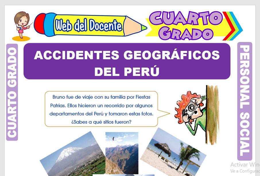 Ficha de Accidentes Geográficos del Perú para Cuarto Grado de Primaria.