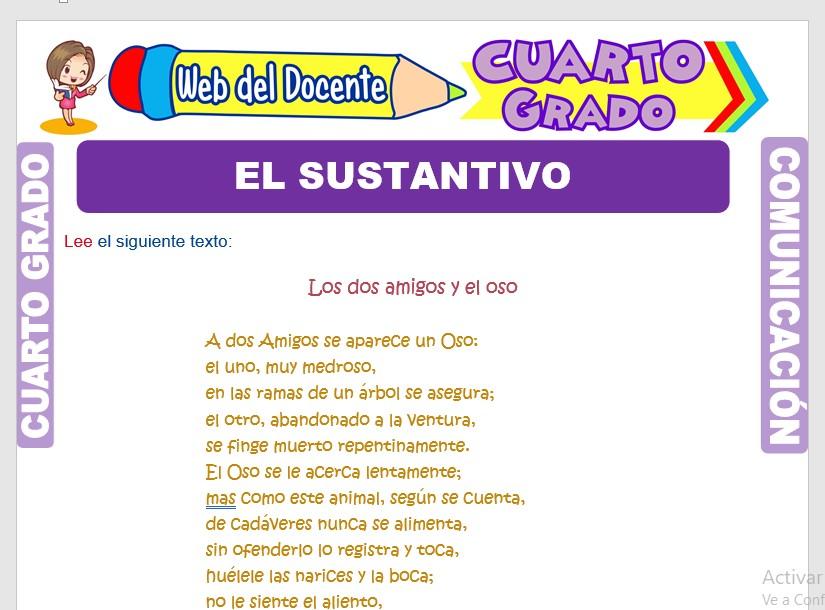 Ficha de Accidentes Gramaticales del Sustantivo para Cuarto Grado de Primaria