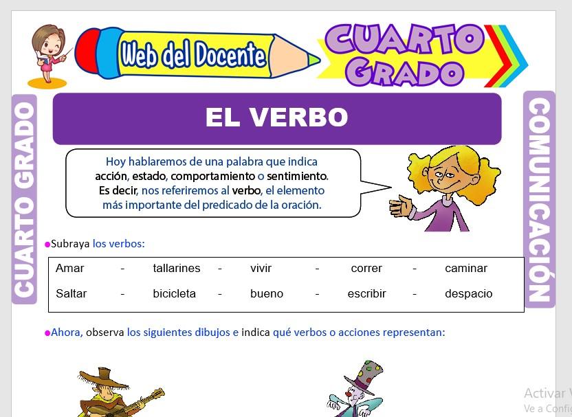 Ficha de Accidentes Gramaticales del Verbo para Cuarto Grado de Primaria