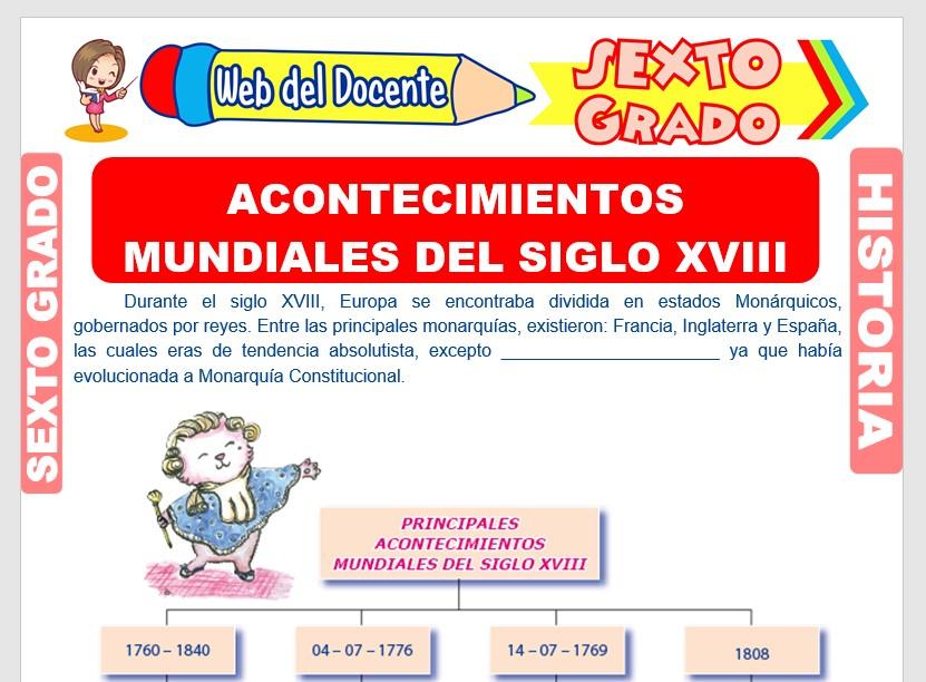 Ficha de Acontecimientos Mundiales del Siglo XVIII para Sexto Grado de Primaria
