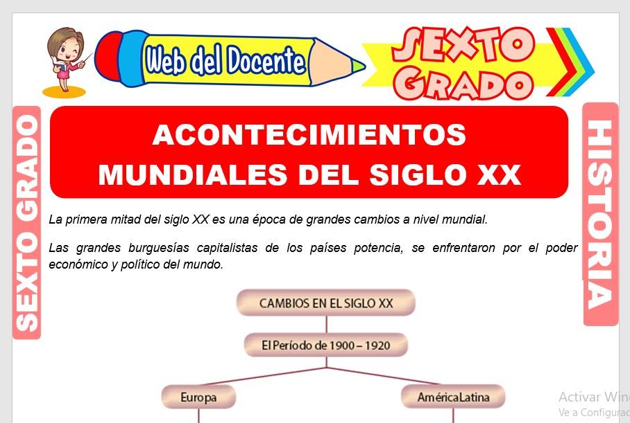 Ficha de Acontecimientos Mundiales del Siglo XX para Sexto Grado de Primaria