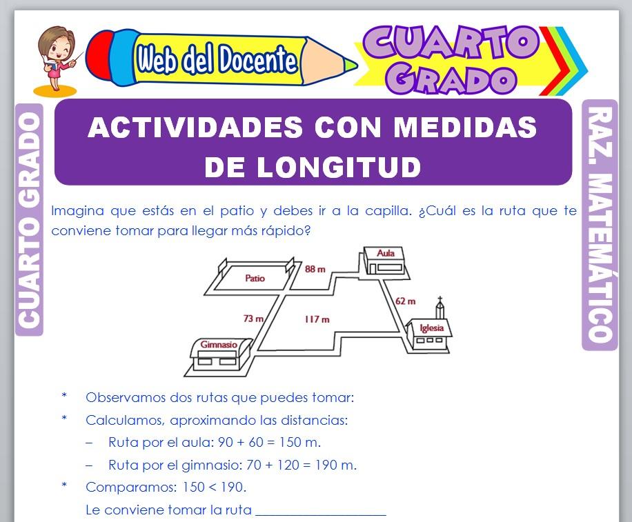 Ficha de Actividades con Medidas de Longitud para Cuarto Grado de Primaria