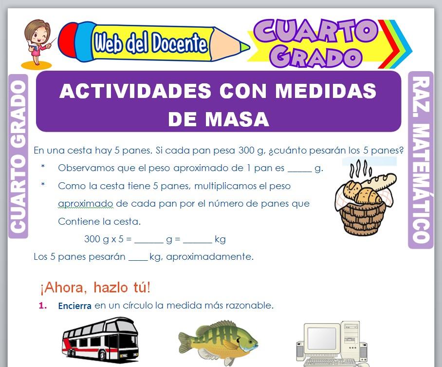 Ficha de Actividades con Medidas de Masa para Cuarto Grado de Primaria
