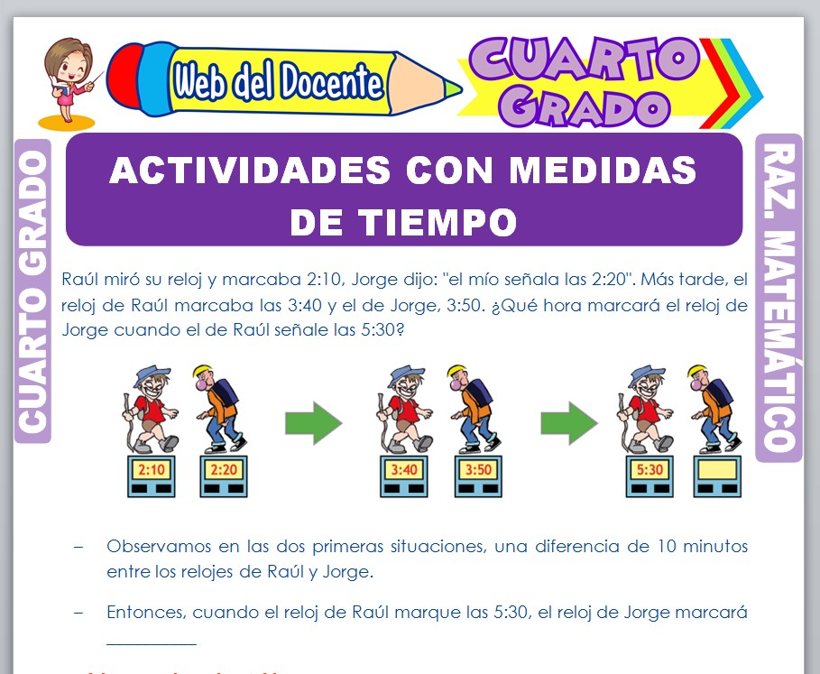 Ficha de Actividades con Medidas de Tiempo para Cuarto Grado de Primaria