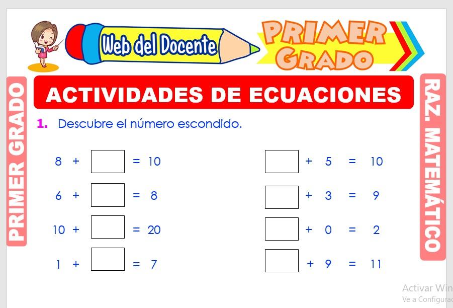 Ficha de Actividades de Ecuaciones para Primer Grado de Primaria