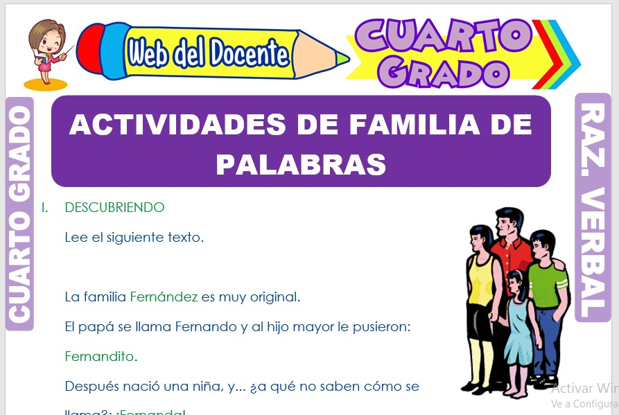 Ficha de Actividades de Familia de Palabras para Cuarto Grado de Primaria