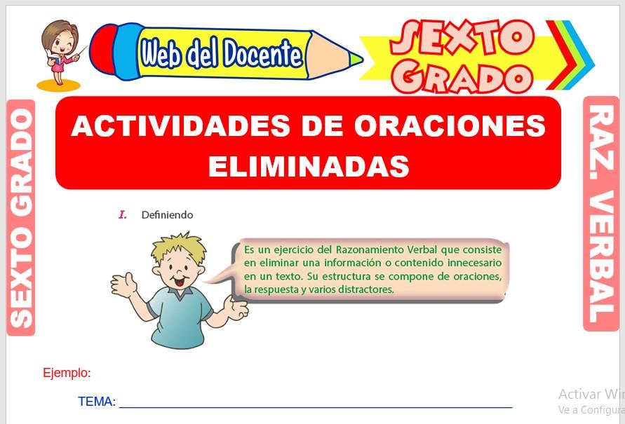 Ficha de Actividades de Oraciones Eliminadas para Sexto Grado de Primaria