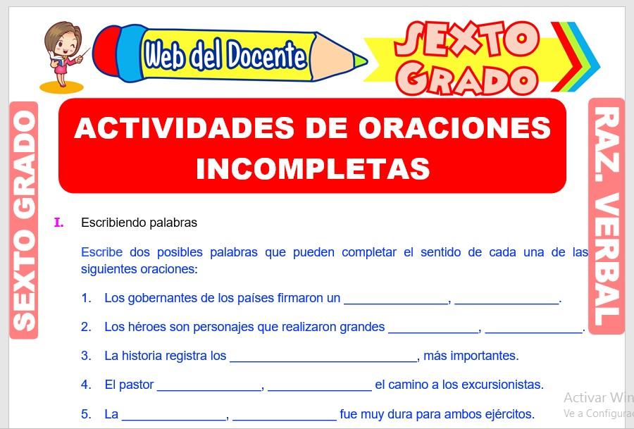 Ficha de Actividades de Oraciones Incompletas para Sexto Grado de Primaria