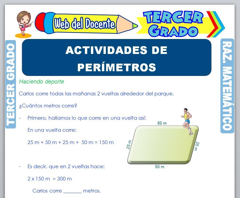 Ficha de Actividades de Perímetros para Tercer Grado de Primaria