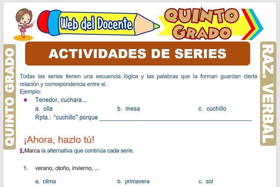 Ficha de Actividades de Series Verbales para Quinto Grado de Primaria