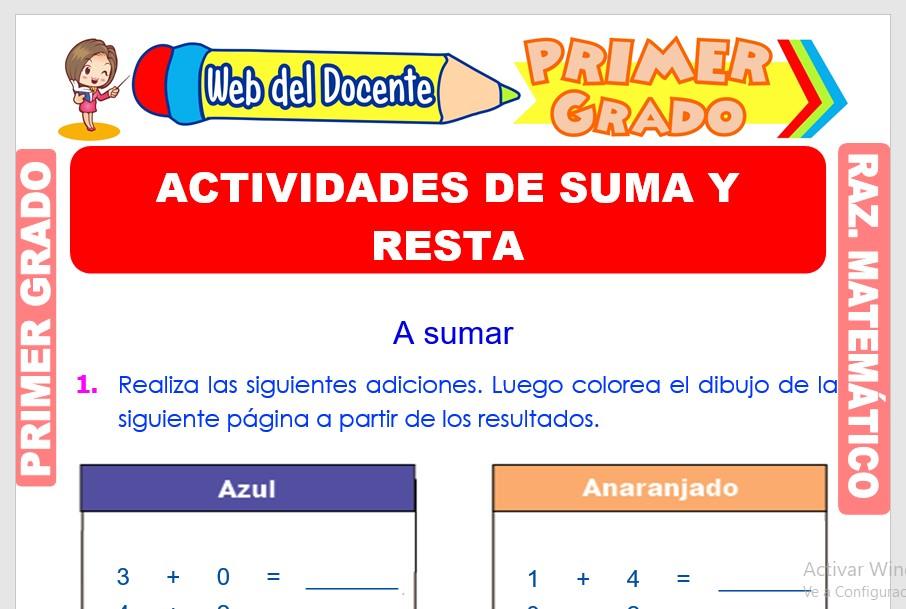 Ficha de Actividades de Suma y Resta para Primer Grado de Primaria