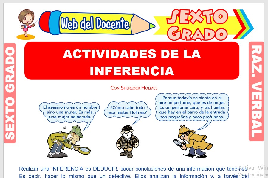 Ficha de Actividades de la Inferencia para Sexto Grado de Primaria