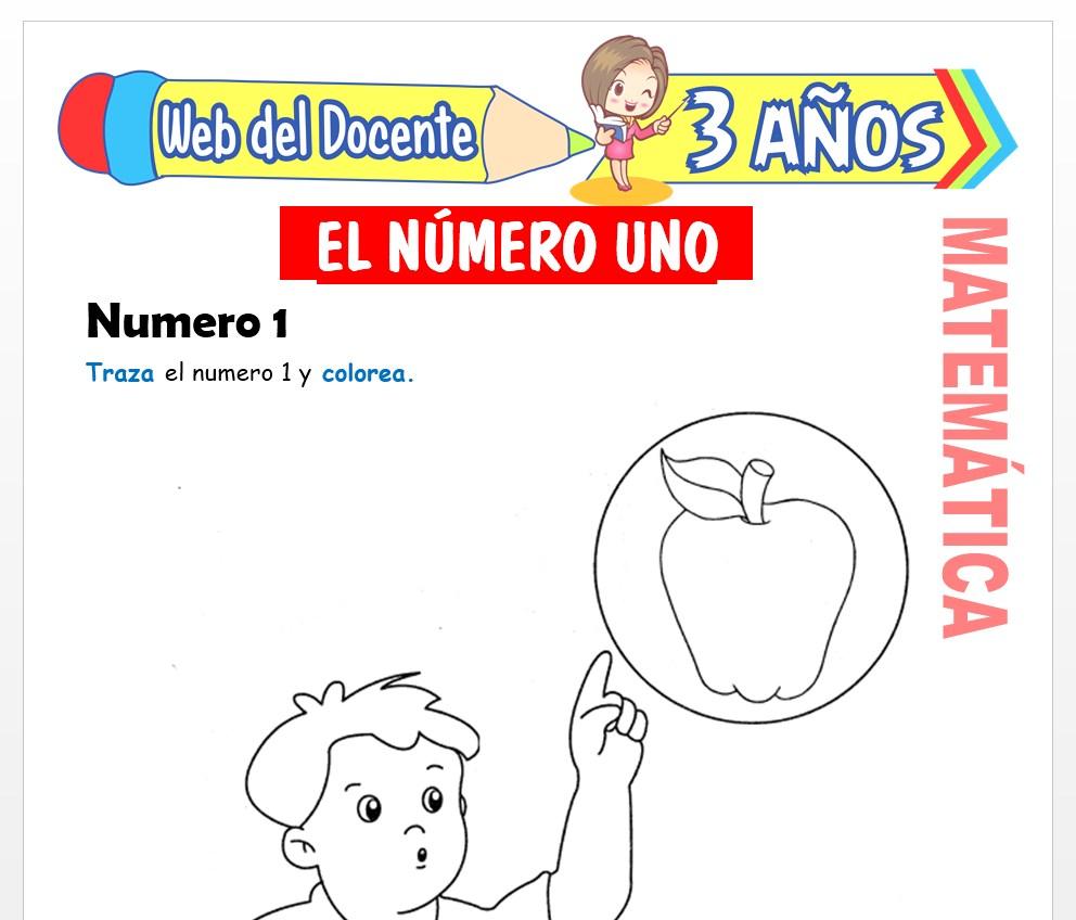 Ficha de Actividades del Número 1 para Niños de 3 AÑOS