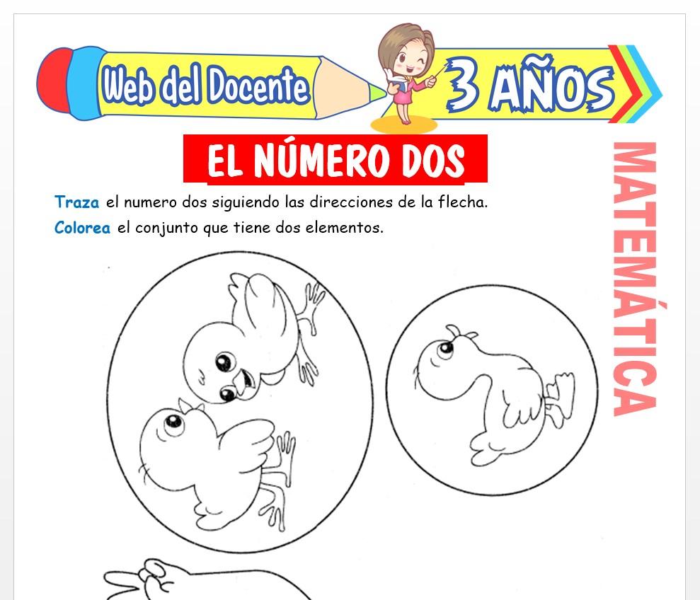 Ficha de Actividades del Número 2 para Niños de 3 AÑOS