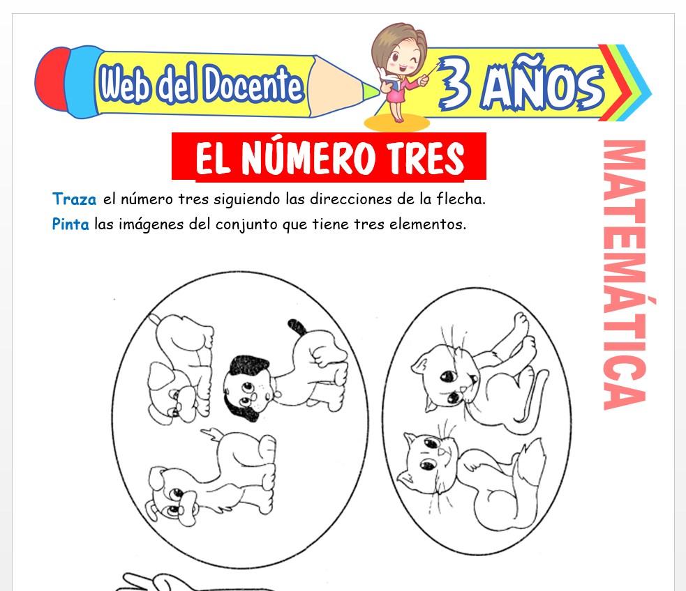 Ficha de Actividades del Número 3 para Niños de 3 AÑOS