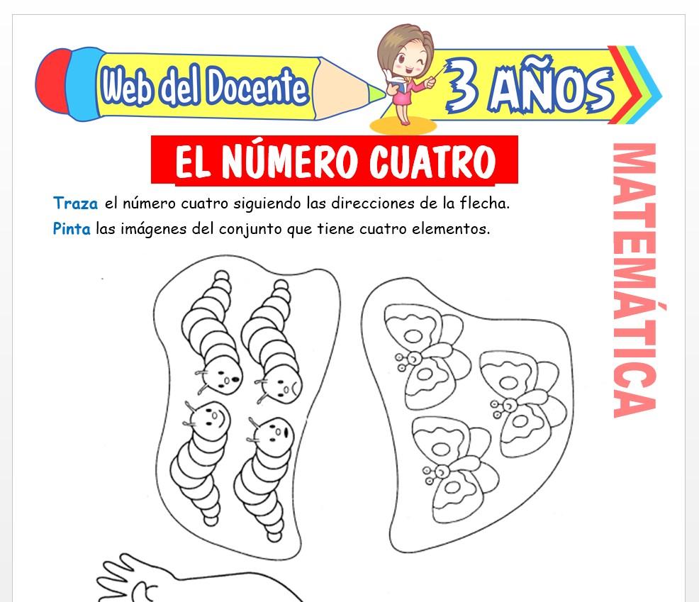 Ficha de Actividades del Número 4 para Niños de 3 AÑOS