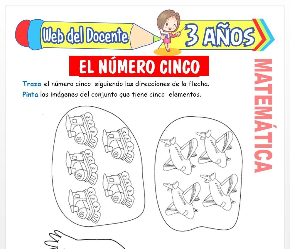 Ficha de Actividades del Número 5 para Niños de 3 AÑOS