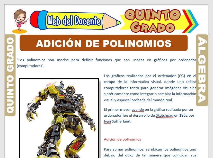 Ficha de Adición de Polinomios para Quinto Grado de Primaria