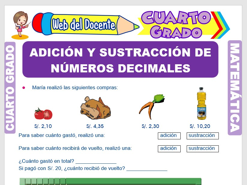 Ficha de Adición y Sustracción de Números Decimales para Cuarto Grado de Primaria
