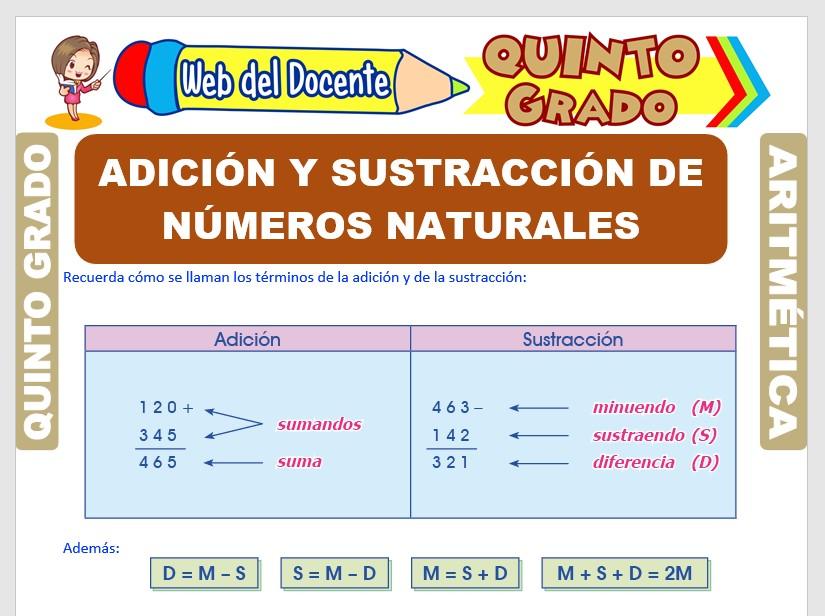 Ficha de Adición y Sustracción de Números Naturales para Quinto Grado de Primaria
