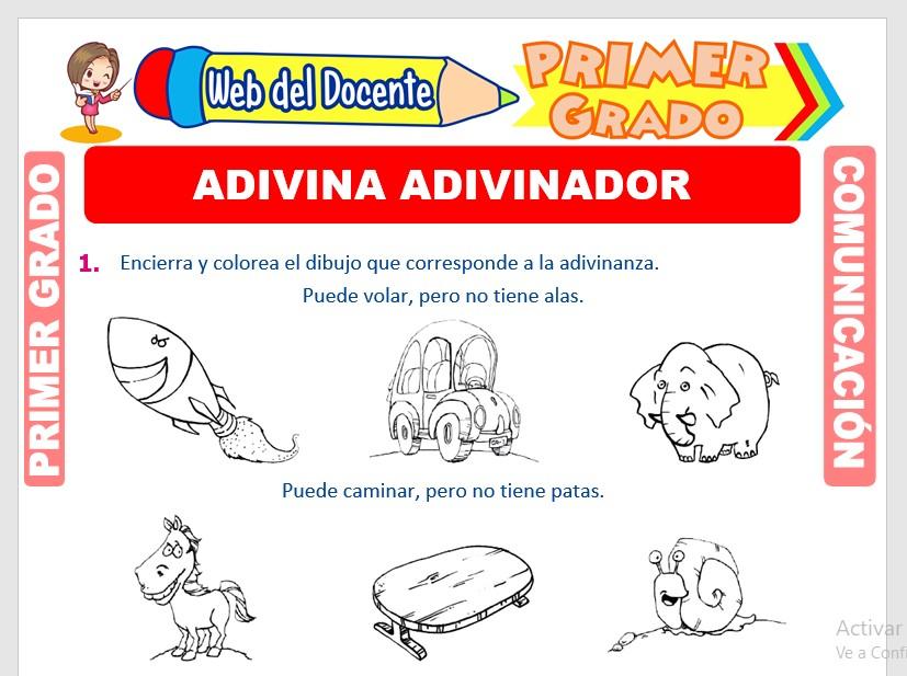 Ficha de Adivinanzas para Primero de Primaria
