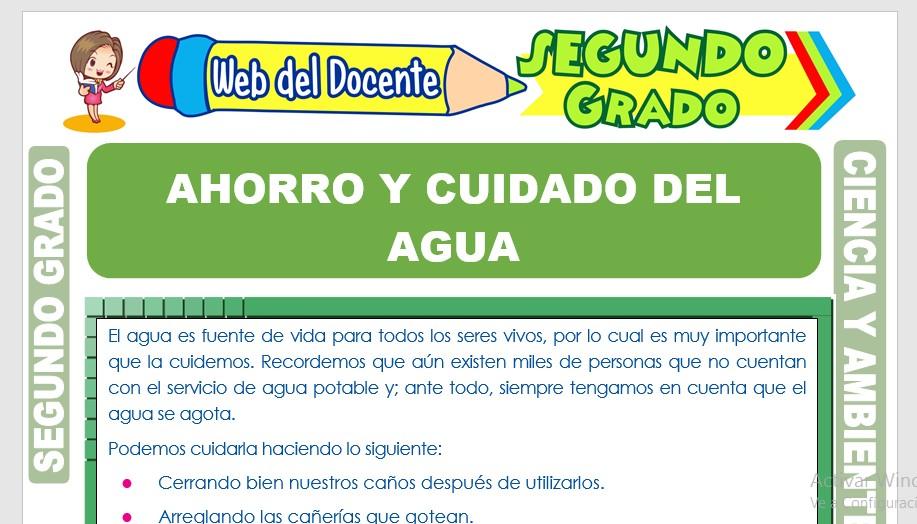 Ficha de Ahorro y Cuidado del Agua para Segundo Grado de Primaria