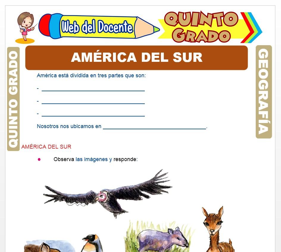 Ficha de América del Sur para Quinto Grado de Primaria