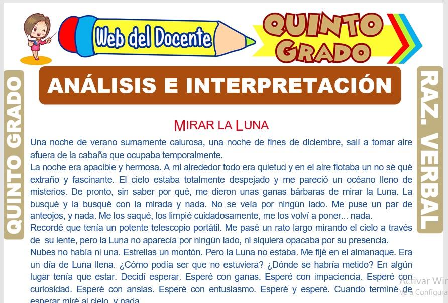 Ficha de Análisis e Interpretación para Quinto Grado de Primaria