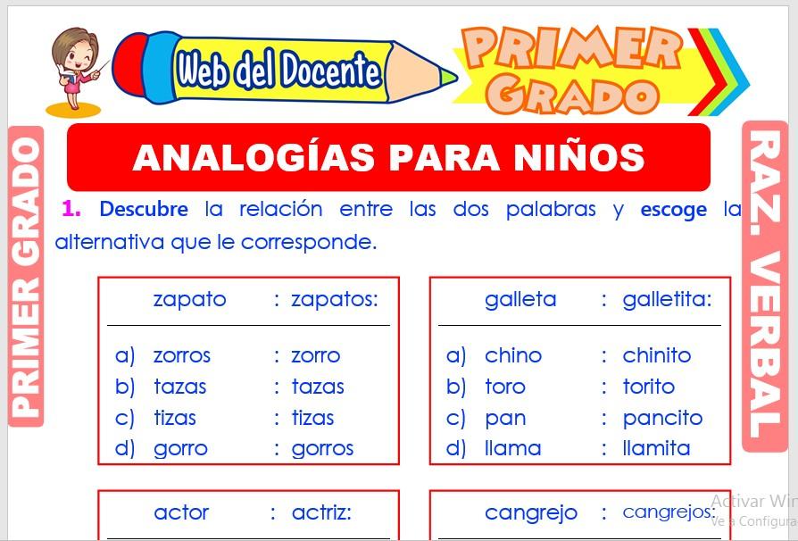 Ficha de Analogías para Niños para Primer Grado de Primaria