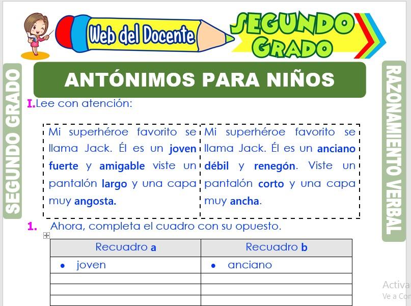 Ficha de Antónimos para Niños para Segundo Grado de Primaria
