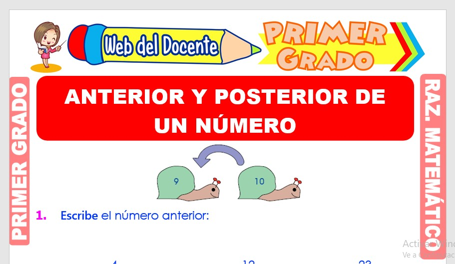 Ficha de Anterior y Posterior de un Número para Primer Grado de Primaria