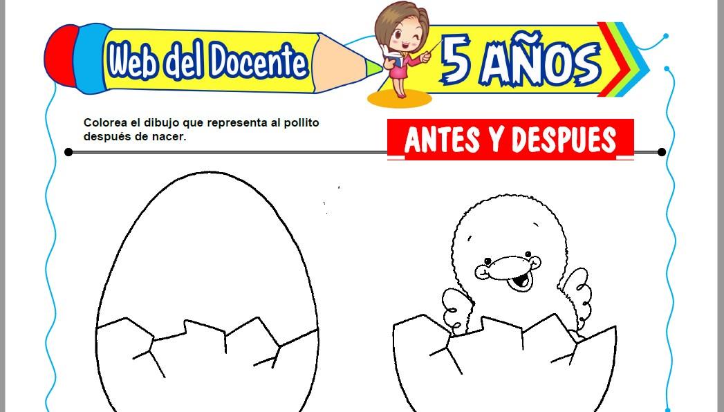 Muestra de la Ficha de Antes y Despues para Niños de 5 Años