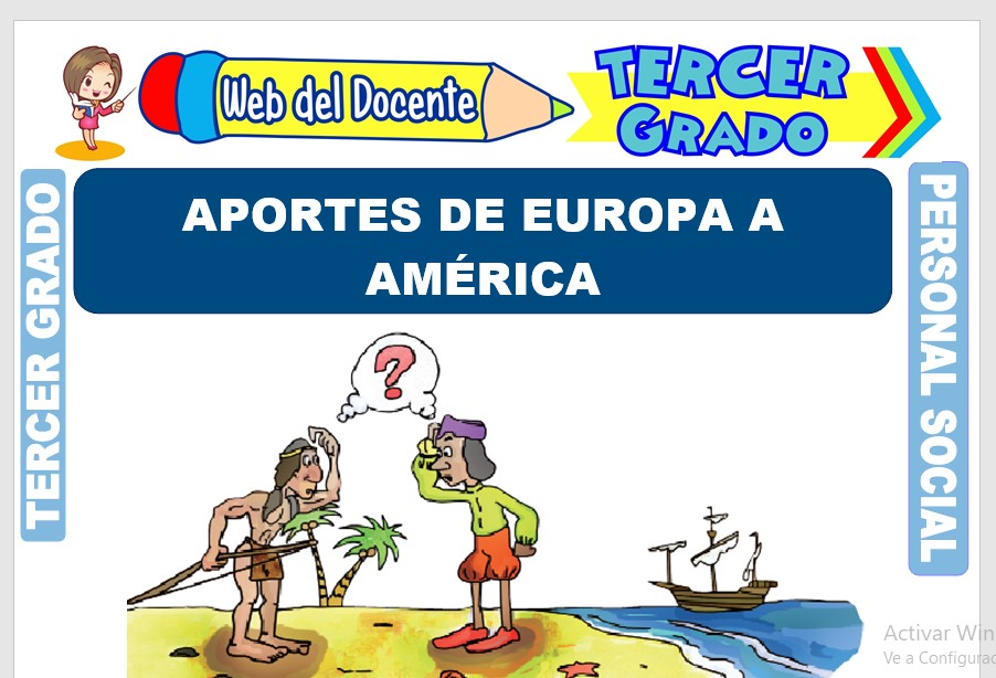 Ficha de Aportes de Europa a América para Tercer Grado de Primaria