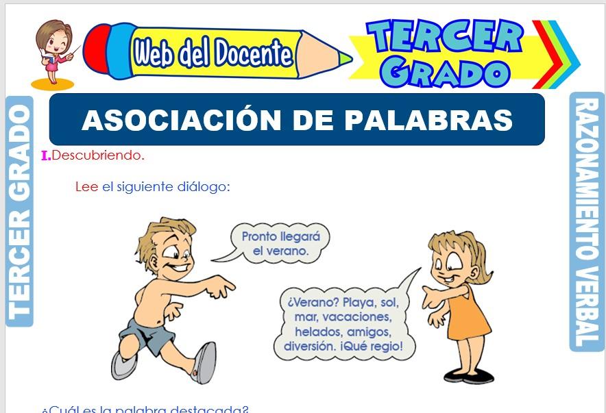 Ficha de Asociación de Palabras para Tercer Grado de Primaria