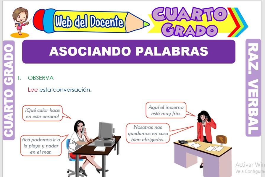 Ficha de Asociando Palabras para Cuarto Grado de Primaria