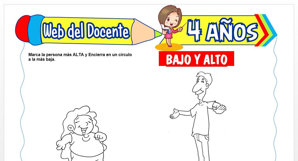 Ficha de Bajo y Alto para Niños de 4 AÑOS