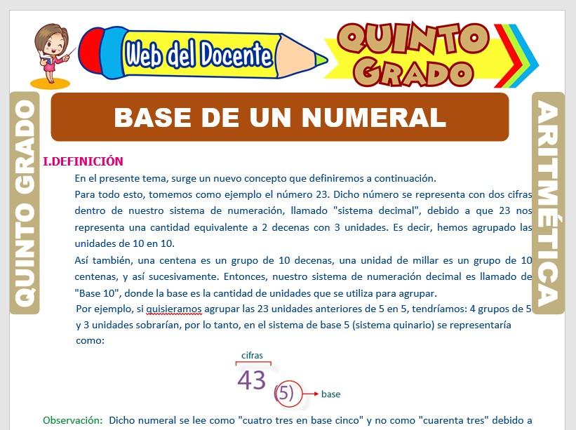 Ficha de Base de un Numeral para Quinto Grado de Primaria
