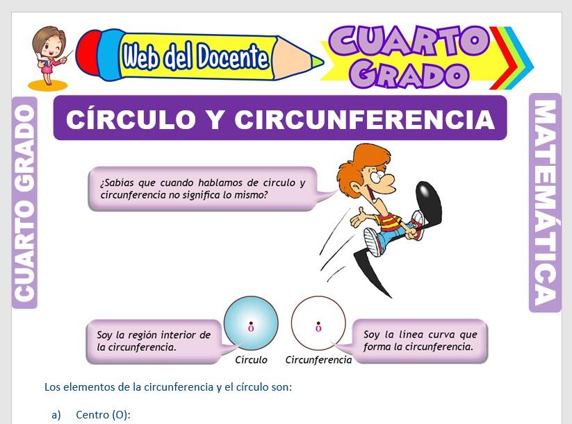 Ficha de Círculo y Circunferencia para Cuarto Grado de Primaria