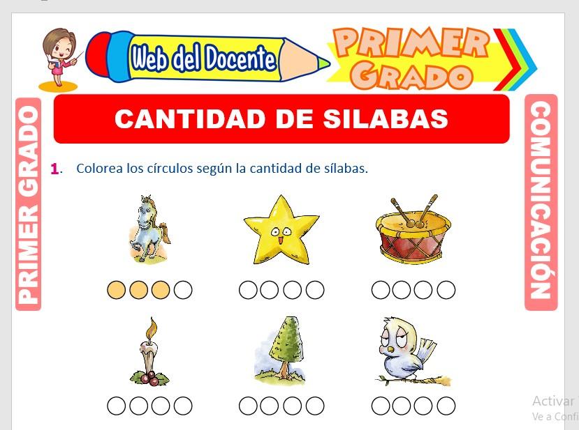 Ficha de Cantidad de Silabas para Primero de Primaria