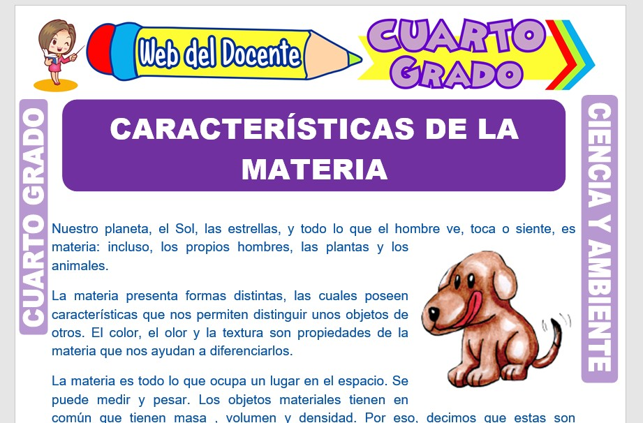Ficha de Características de la Materia para Cuarto Grado de Primaria