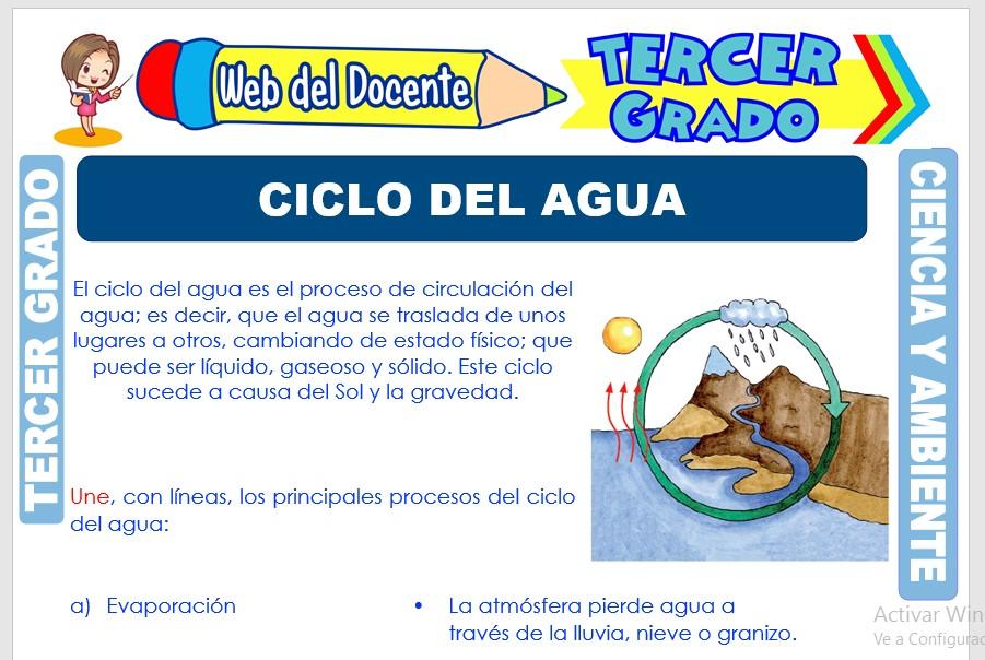Ficha de Ciclo del Agua para Tercer Grado de Primaria