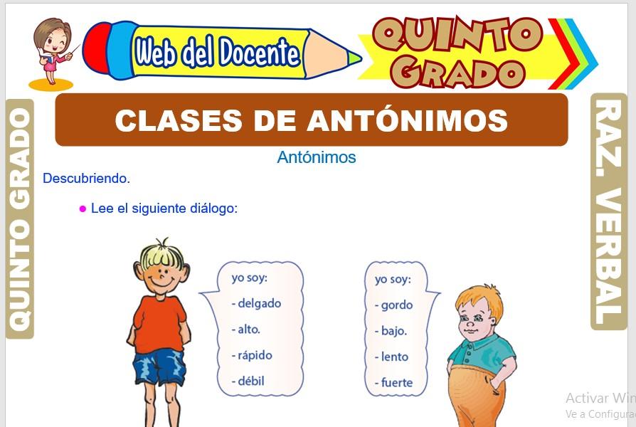 Ficha de Clases de Antónimos para Quinto Grado de Primaria
